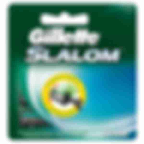 Gillette Сменные кассеты для бритвенного станка Slalom + (зелёные) N3 с плавающей головкой