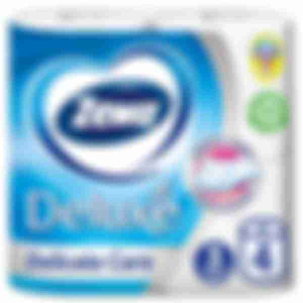 Туалетная бумага Zewa Делюкс белая, 4 рулона, 3 слоя