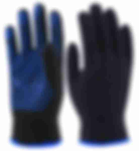 Перчатки ПВХ синяя точка, черные, р.9